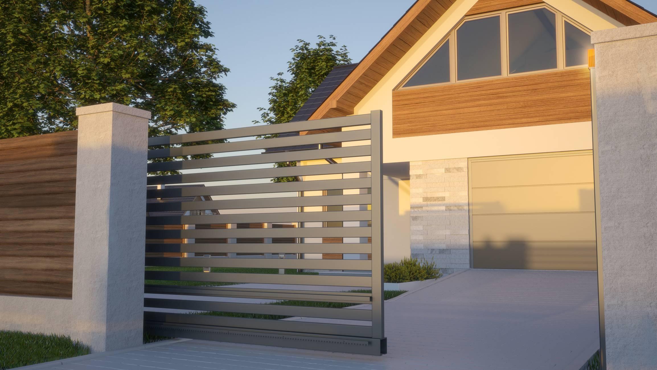 portail autoportant design maison futuriste